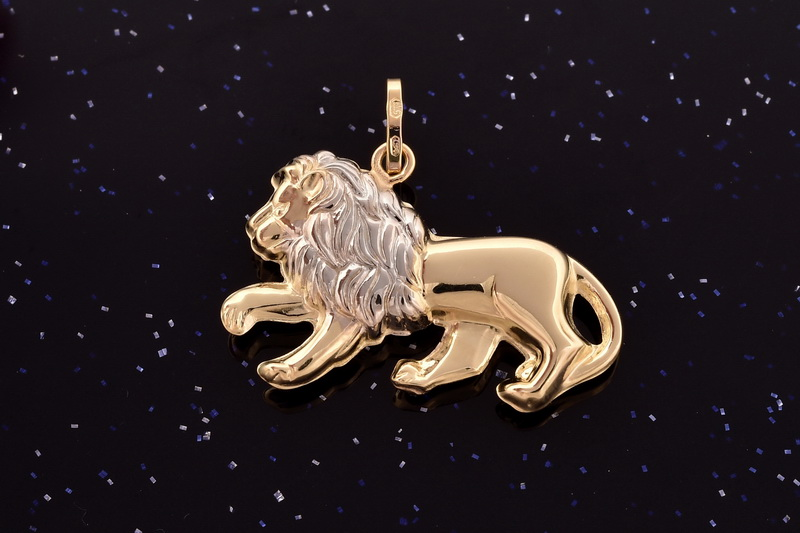 Zlatý přívěsek lev s bílou hřívou P060 1,15g (14kt,váha 1,15g)
