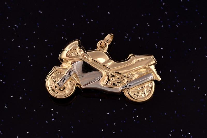Zlatý přívěsek motorka P061 1,40g (14kt,váha 1,40g)
